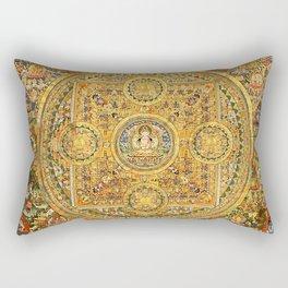 Buddhist Gold Avalokiteshvara Mandala Thangka Rectangular Pillow