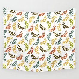 Colorful Leaves, Leaf Pattern - Blue Green Yellow Wall Tapestry