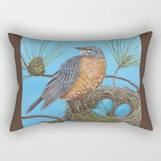 Robin with nest in Georgia pine tree Rectangular Pillow