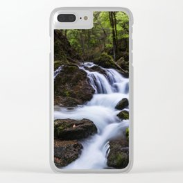 Magical waterfall in gorge Hell Clear iPhone Case