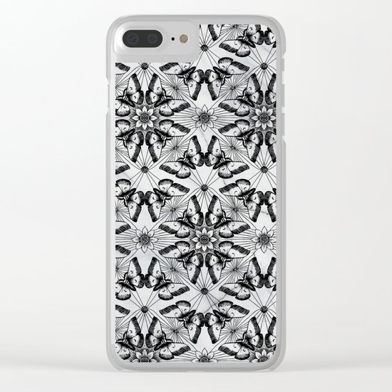 Marble black butterfly pattern Clear iPhone Case