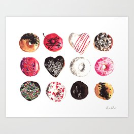 Assorted Donuts Valentine's Day Krispy Kreme Sprinkles Hearts Art Print