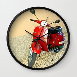 Vespa in Red Wall Clock