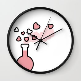 Pink Love Magic Potion in a Laboratory Flask Wall Clock