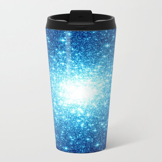 Turquoise Blue Galaxy Stars Metal Travel Mug