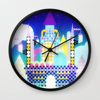 castle in the sky Wall Clocks featuring Castle in the Sky by Alexander Pohl
