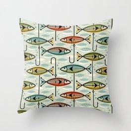 Vintage Color Block Fish Throw Pillow