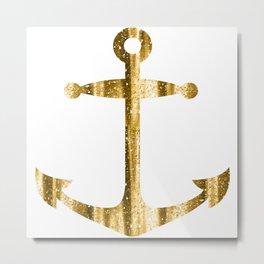Gold glitter look nautical boat anchor Metal Print