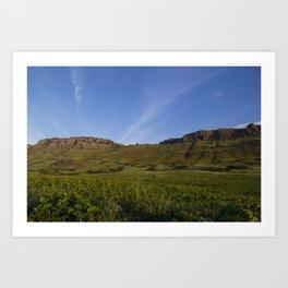 Green Fields Mountains and Blue Sky Art Print