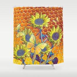 GREY-YELLOW BUTTERFLIES & SUNFLOWERS ARTISTIC HONEYCOMB DRAWING Shower Curtain