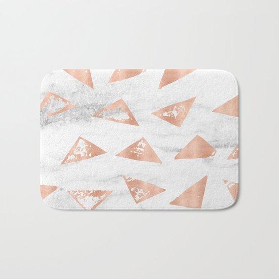 Boho Geometric Rose Gold Marble Bath Mat
