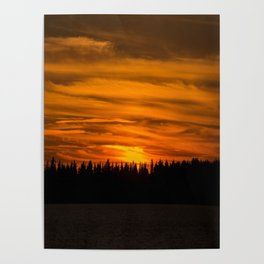 Cloudy Sunset With Forest Line - Scenic Landscape - #society6 #decor #buyart Poster