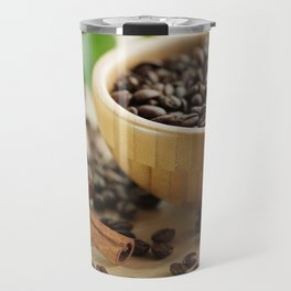 Still life of bamboo shell with fine Arabica coffee and  cinnamon Travel Mug