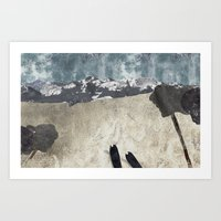 skiing Art Prints featuring Skiing by Stag Prints
