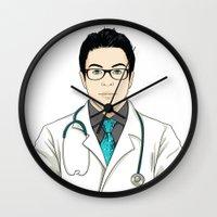 doctor Wall Clocks featuring Doctor by BusOne - Aldo Campilongo