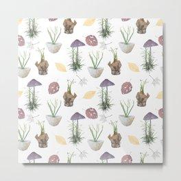 Mushrooms, spurge, horsetail, lily of the valley, leaves. Metal Print