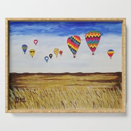 Balloons Across the Amber Waves of Grain  Serving Tray