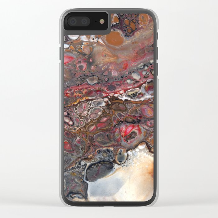 Earth Faux Granite Marble Clear iPhone Case