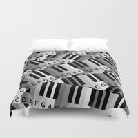 piano Duvet Covers featuring Piano Keys by mailboxdisco