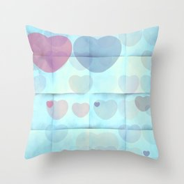 Beautiful blue and red transparent hearts Throw Pillow