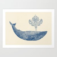 damask Art Prints featuring The Damask Whale  by Terry Fan