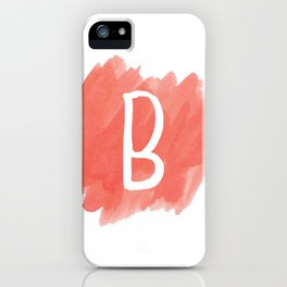 Letter B Coral Watercolor iPhone Case