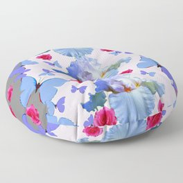 ROSES PASTEL IRISES BLUE-PURPLE BUTTERFLIES ABSTRACT Floor Pillow