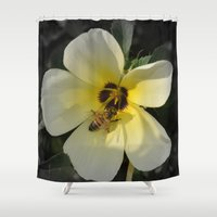 bee Shower Curtains featuring Bee by Lia Bernini