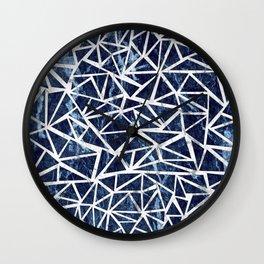 Mozaic Triangle Blue Marble Wall Clock