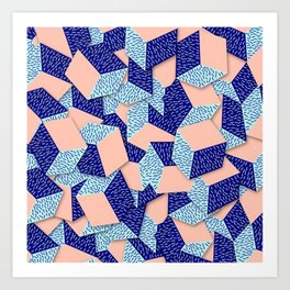 Colorful Aqua Geometric Pattern Art Print