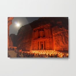Candlelit Petra Ruins by Moonlight by Sylvain L. Metal Print