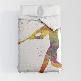 Baseball player isolated 01 in watercolor Comforters