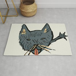 Cat Eats His Wet Food Rug