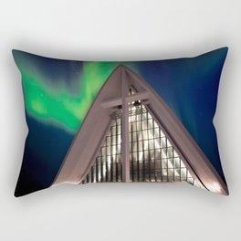 Northern Light Above Arctic Cathedral Rectangular Pillow