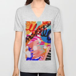 Grell 002 / A Composition Of Abstract Graffiti Shapes Unisex V-Neck