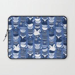 Swedish folk cats I // Indigo blue background Laptop Sleeve
