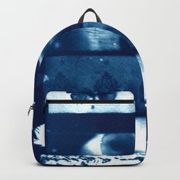 Fragments of the Past (24), art print, collage, blue print, cyanotype print, wall art, wall decor Backpack