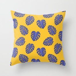 Monstera trendy - yellow purple Throw Pillow
