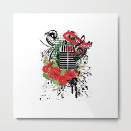 Retro microphone with roses Metal Print