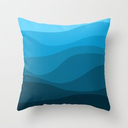 Blue wavy ocean Throw Pillow