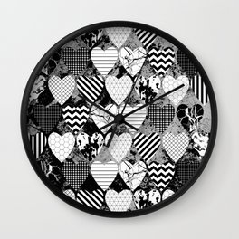 Textured Black And White Hearts - Abstract, geometric pattern Wall Clock