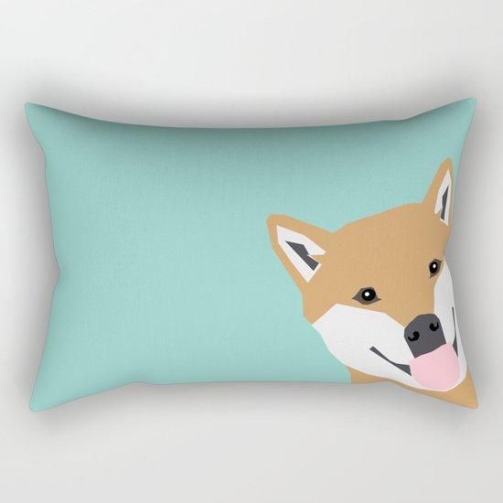 Shiba Inu Peek - cute shiba doge peeking funny dog art print mint turquoise customizable dog gift Rectangular Pillow