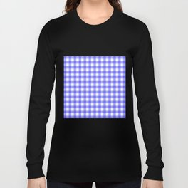 Blue Gingham Material Long Sleeve T-shirt