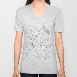 Magnolia flower and birds ink-pen drawing Unisex V-Neck