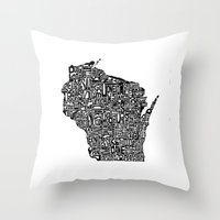 wisconsin Throw Pillows featuring Typographic Wisconsin by CAPow!