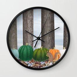 fox squirrels, heirloom pumpkins, & acorns Wall Clock