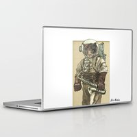 saxophone Laptop & iPad Skins featuring Space Cat with Saxophone by Felis Simha