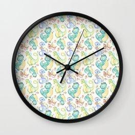 Watercolor Dinosaurs Hand Drawn Illustration Pattern Wall Clock