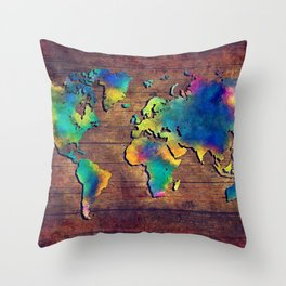 World map watercolor 2 Throw Pillow