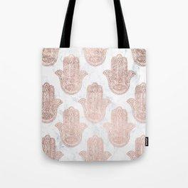 Modern rose gold floral lace hamsa hands white marble illustration pattern Tote Bag
